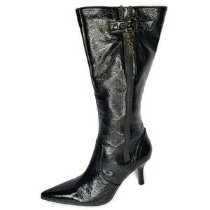 Andrea Patent Leather Pointed Toe Knee High Boots